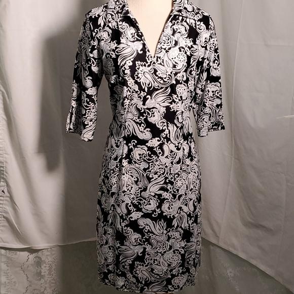 Jude Connally, shift dress, size medium. Navy/whit